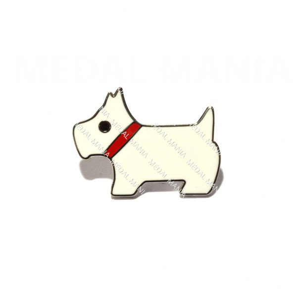 White West Highland Terrier Pin Badge 1